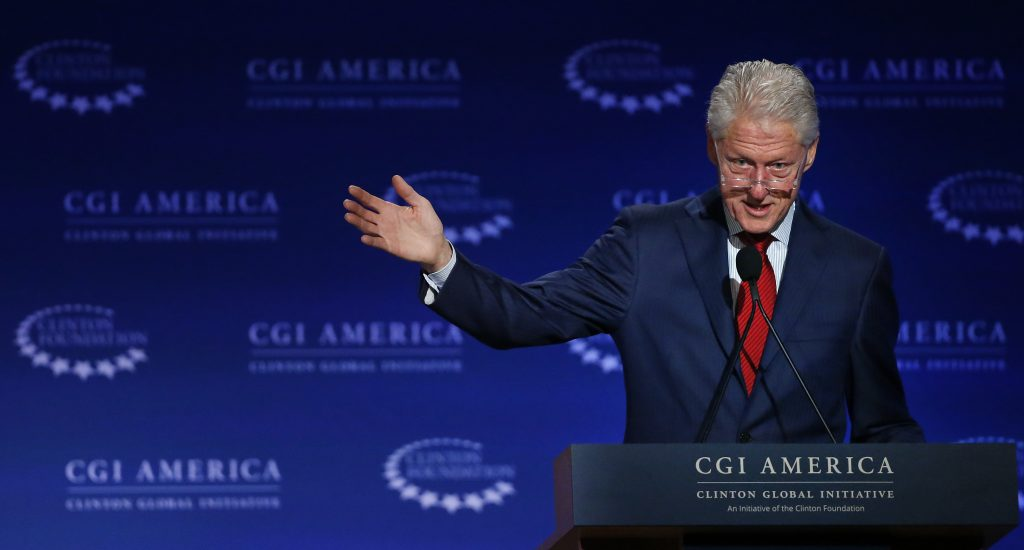 In this June 10, 2015photo, former U.S. President Bill Clinton speaks at annual gathering of the Clinton Global Initiative America, which is a part of The Clinton Foundation, in Denver. (AP Photo/Brennan Linsley, File)