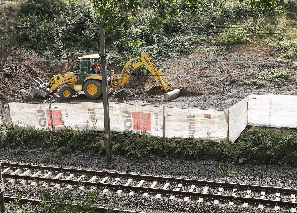 In this Aug. 16, 2016, photo, heavy machinery begins the search for the legendary Nazi gold train. (AP Photo/Dariusz Gdesz,file)