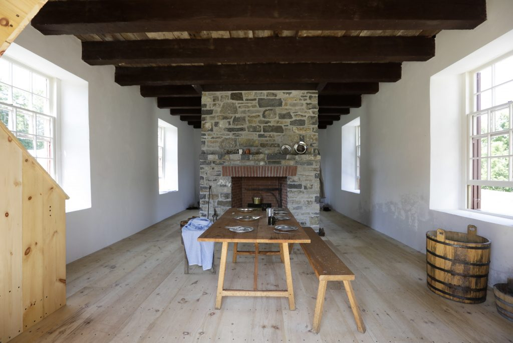 The inside of a restored stone house is seen at Johnson Hall State Historic Site in Johnstown, N.Y. (AP Photo/Mike Groll)