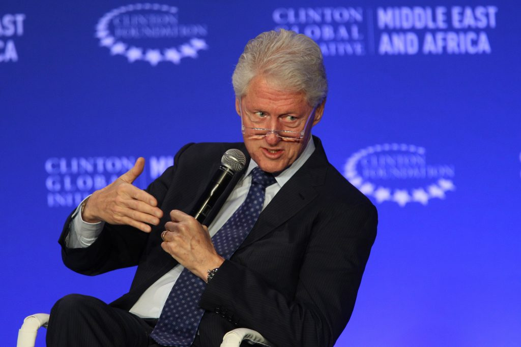 FILE - In this May 6, 2015, photo, former President Bill Clinton speaks during a plenary session at the Clinton Global Initiative Middle East & Africa meeting in Marrakech, Morocco. (AP Photo/Abdeljalil Bounhar, File)