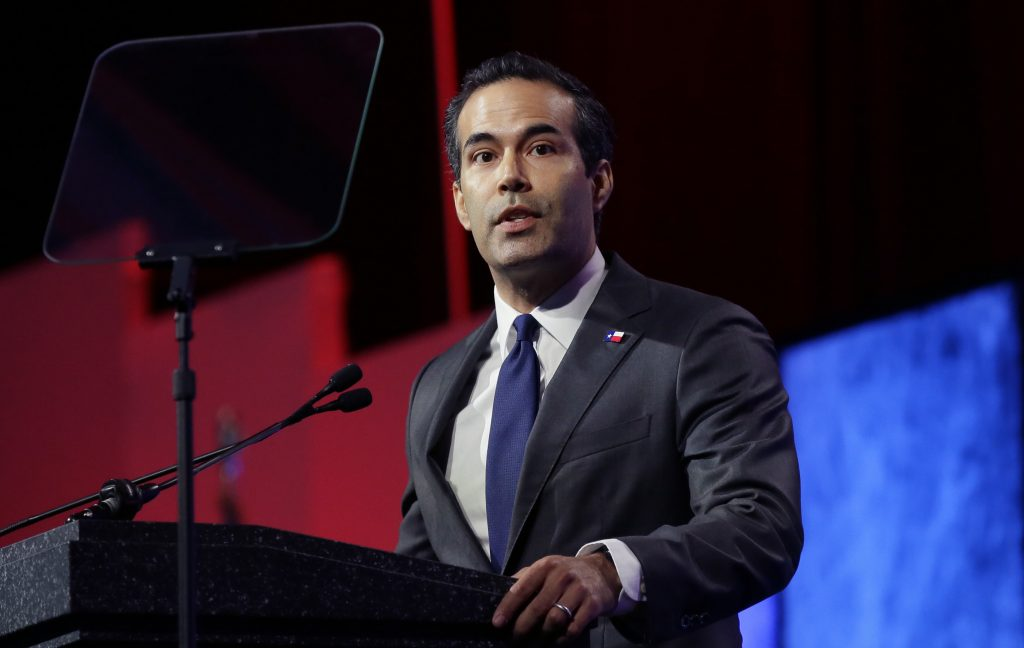Texas land commissioner George P. Bush, shown here speaking at the Texas Republican Convention in Dallas in May. (AP Photo/LM Otero)