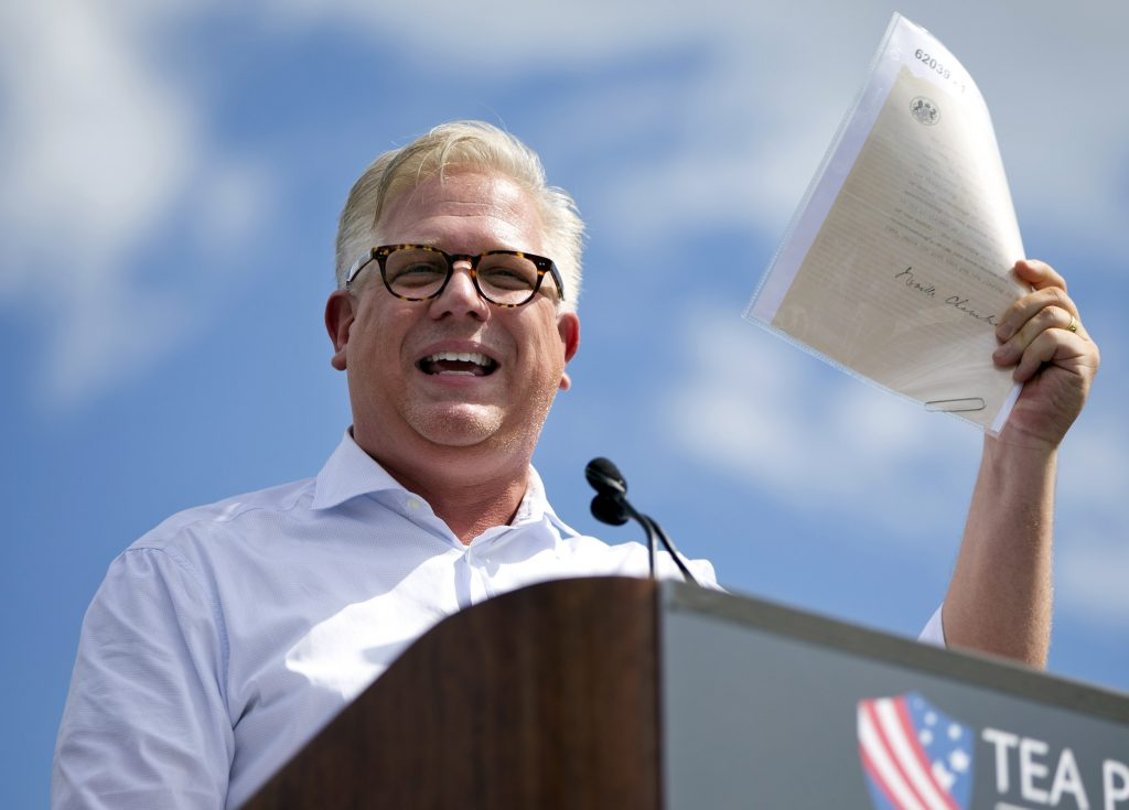 Glenn Beck, shown here speaking during a Tea Party rally against the Iran deal on the West Lawn of the Capitol in Washington, on Sept. 9, 2015. (AP Photo/Jacquelyn Martin, File)