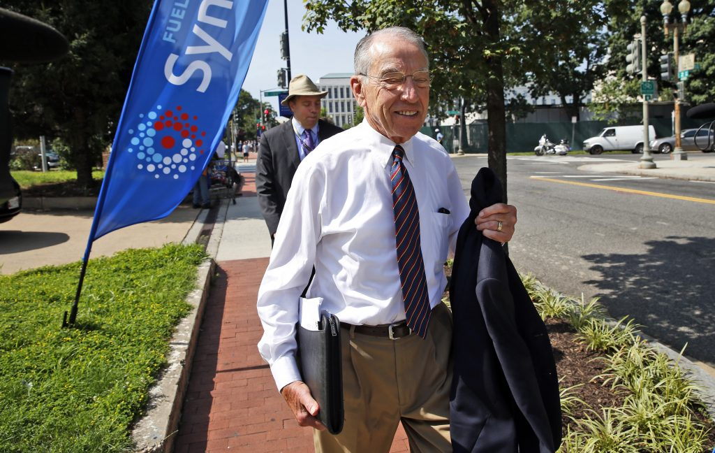 Sen. Charles Grassley, R-Iowa, shown here heading to a meeting last month with Donald Trump and the Senate Republican Conference at the National Republican Senatorial Committee headquarters in Washington. (AP Photo/Alex Brandon)