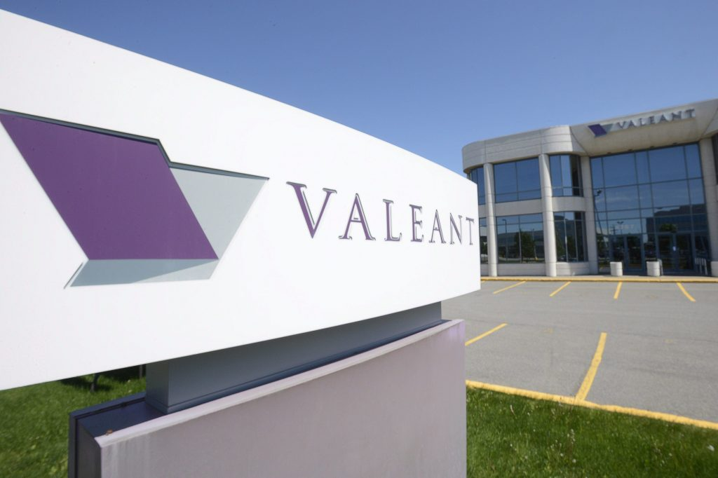 The head office and logo of Valeant Pharmaceuticals in Laval, Quebec, Canada (Ryan Remiorz/The Canadian Press via AP, File)