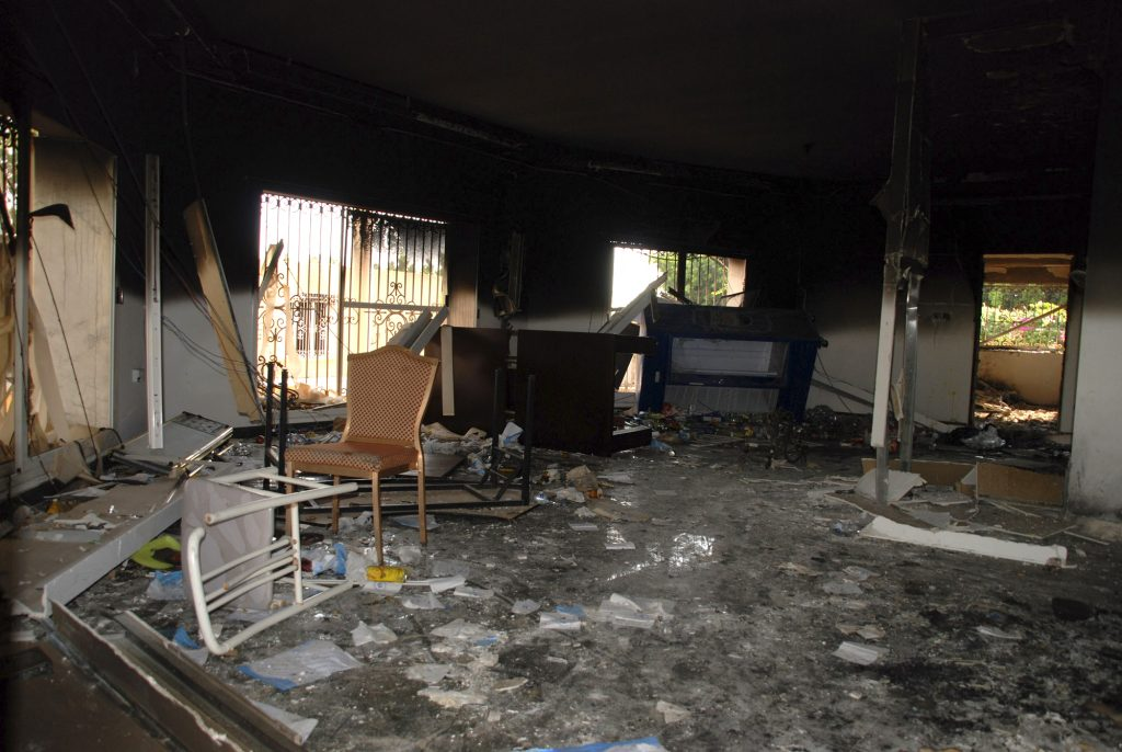 A burned-out room in the gutted U.S. consulate in Benghazi, Libya, after the Sep. 11, 2012, attack. (AP Photo/Ibrahim Alaguri)