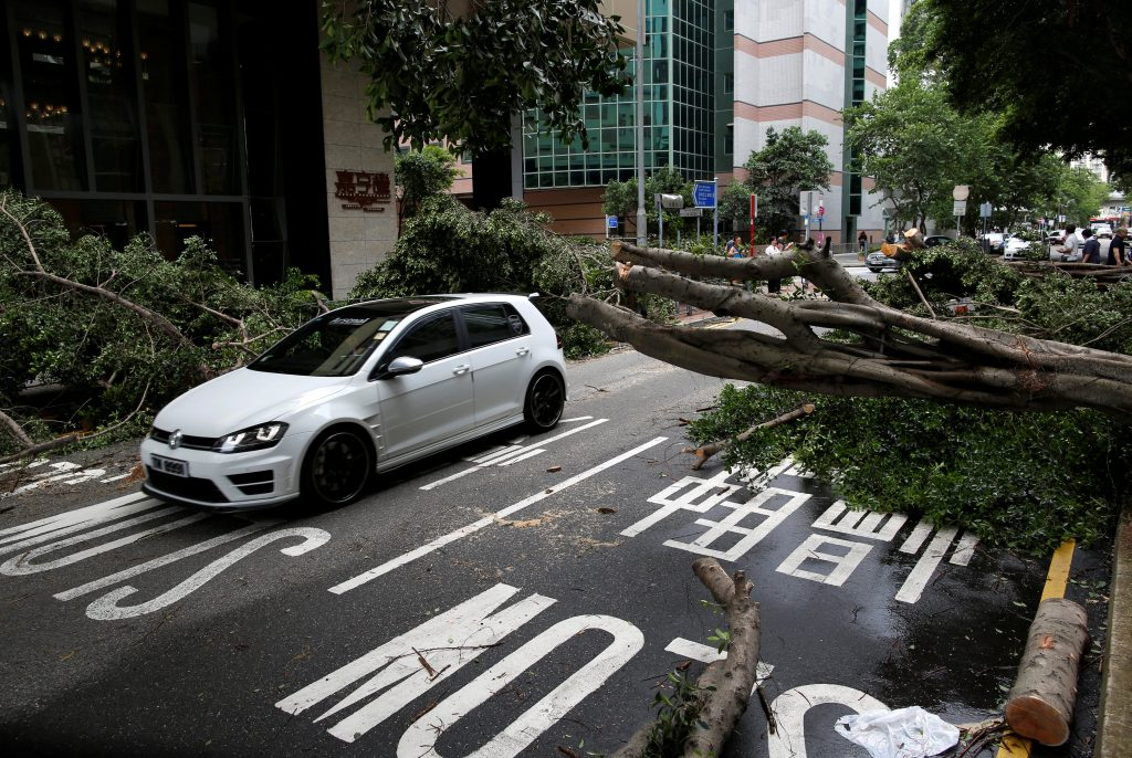 A vehicle drives among trees uprooted by strong winds from Typhoon Nida in Hong Kong, China August 2, 2016. REUTERS/Tyrone Siu