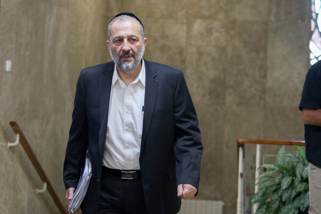 Israeli Minister of Interior Affairs Rabbi Aryeh Deri. (Amit Shabi/Flash90/POOL)