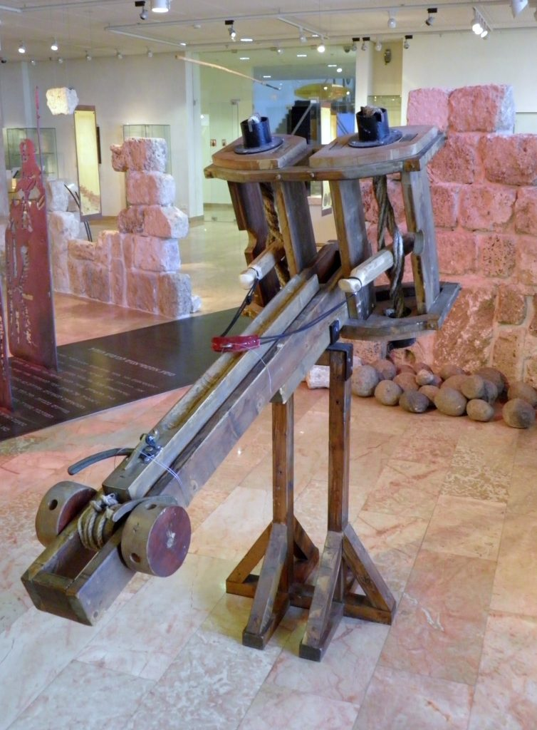 Reconstructed small ballista, a catapult used in the times of the Roman Empire, on display at the Hecht Museum, Haifa. (Oren Rozen)