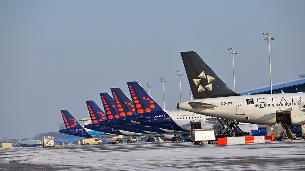 Brussels Airlines planes lined up at Brussels Airport. (Brussels Airport)