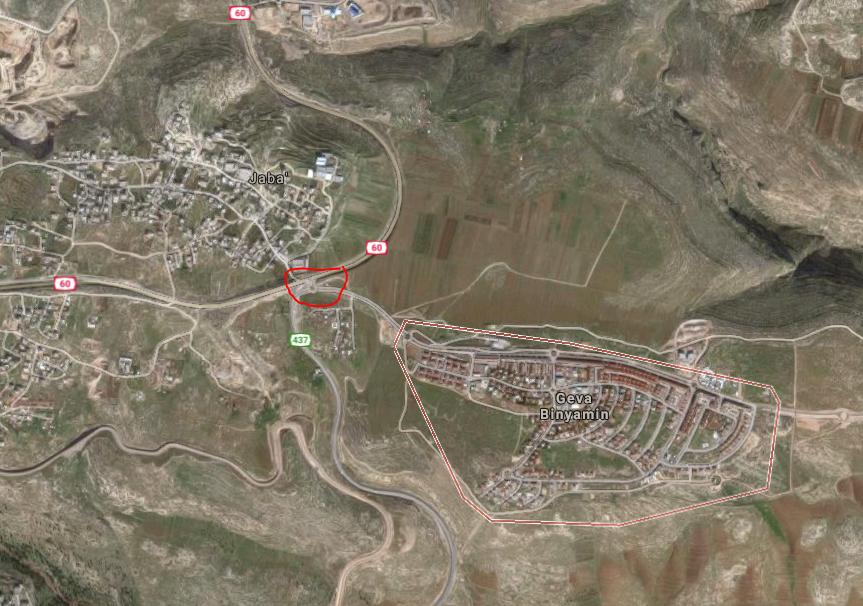 This Google Maps image shows the Jewish town of Geva Binyamin, also known as Adam (R) ; and the Palestinian town of Jaba (L). Circled in red is a traffic circle between the roads leading to the two towns.