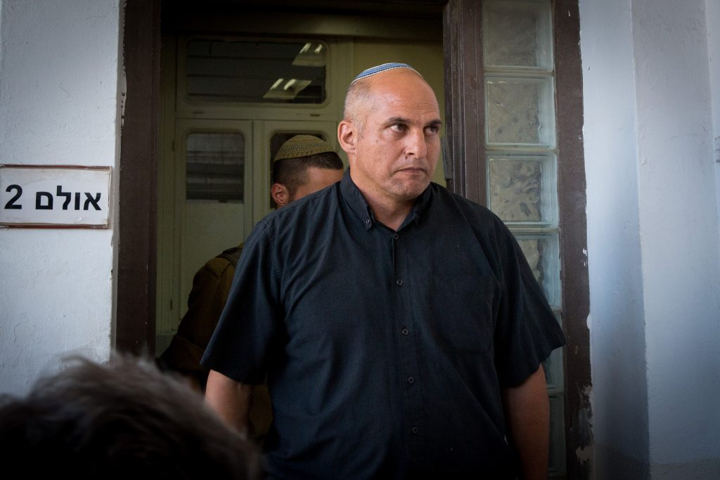 """Eliyahu Libman (Lt.-Col., Res.) in Jaffa military court on Sunday as a witness for the defense in the trial of Elior Azaria, the soldier who shot a Palestinian terrorist in Chevron while he was lying on the ground, apparently """"neutralized."""" (Miriam Alster/Flash90)"""