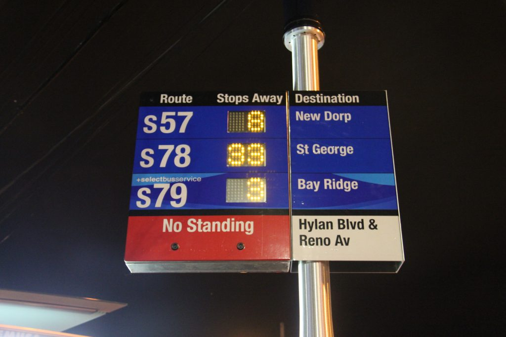 A countdown clock at a bus stop in Staten Island. (Flickr)