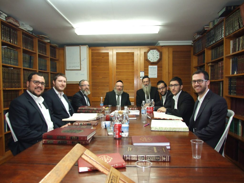 The members of the Kolle during their bechinah by Harav Zimmerman (C).