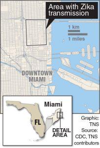 Map of Zika in Florida.
