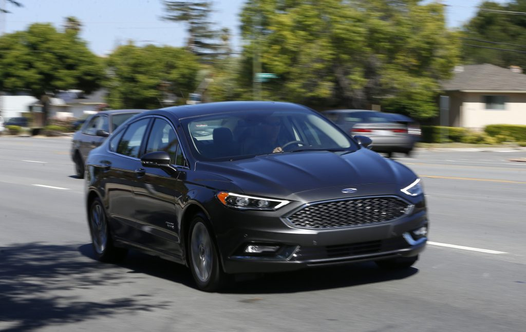 A 2017 Ford Fusion Energi plug-in hybrid Platinum model. (Nhat V. Meyer/Bay Area News Group/TNS)