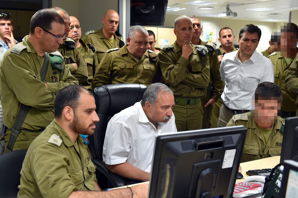 Defense Minister Avigdor Liberman seen during a recent visit to an IDF command center. (Ariel Hermoni/Ministry of Defense)