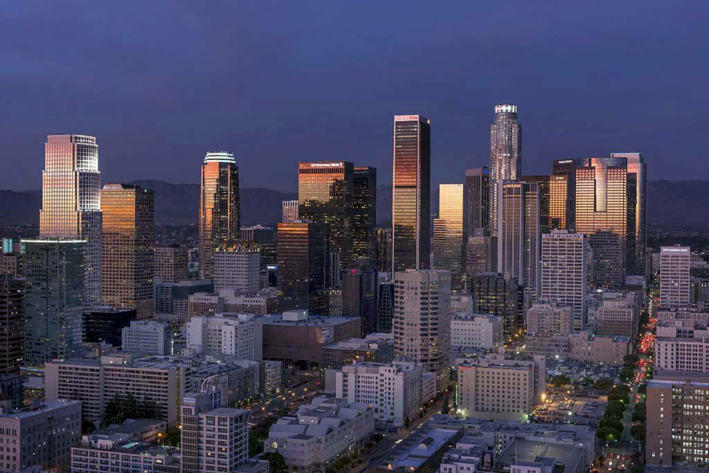 A skyline view of Los Angeles by Carol M. Highsmith, one of thousands she allows to be used for free but which Getty Images is charging for. (Carol M. Highsmith America Collection/Library of Congress via AP)