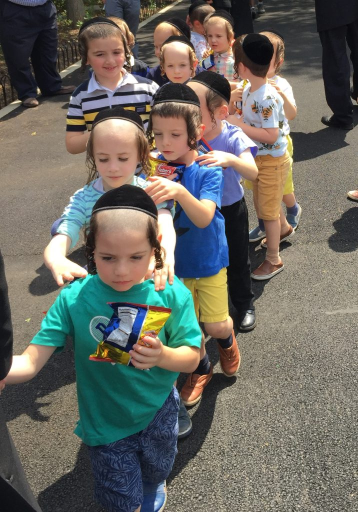 Cheder boys playing in 18th Ave. Park in Brooklyn. (Isser Berg/Hamodia)