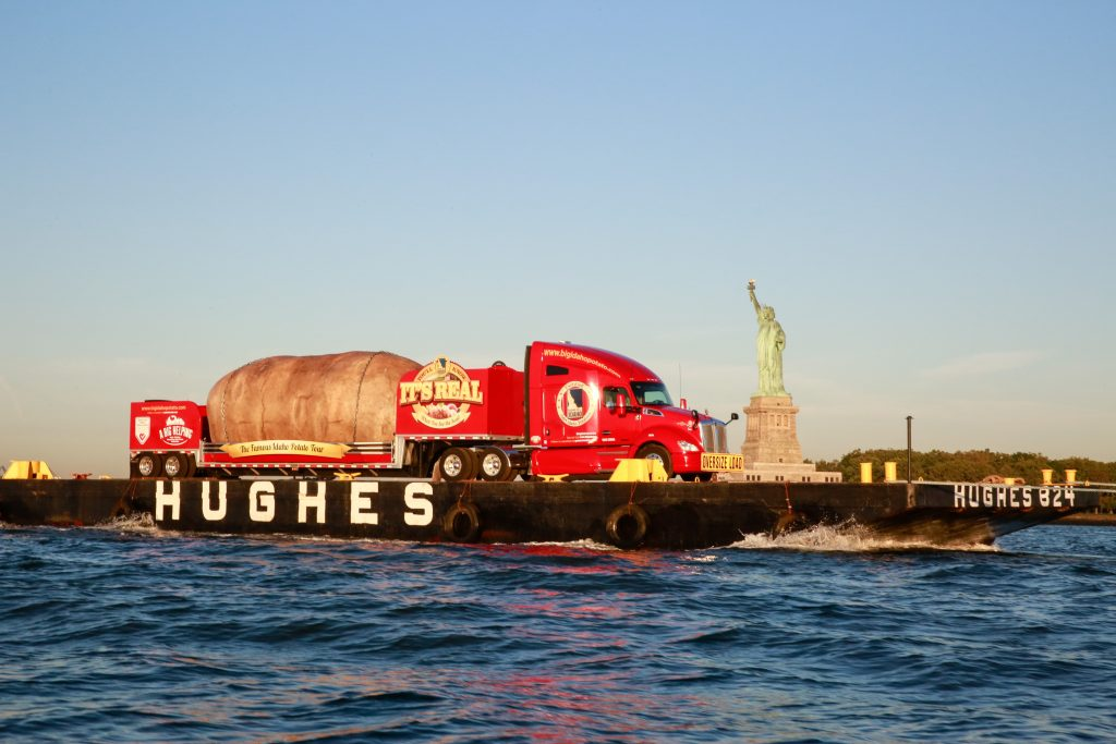 The Big Potato in the Big Apple: The Big Idaho® Potato Truck crosses the Hudson River on Wednesday during a visit to New York. (Mark Von Holden/AP Images for Idaho® Potato Commission)
