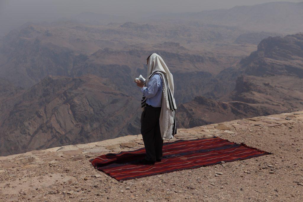 Tefillah near Kever Aharon, on Jabal Harun, or Aaron's Mountain, near Petra in Jordan. (Yaakov Naumi/Flash90)