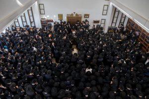 "Hespedim for Hagaon Harav Moshe Mordechai Chadash, zt""l, Rosh Yeshivah, Yeshivas Ohr Elchanan at the yeshiva in Yerushalayim on Wednesday. (Yonatan Sindel/Flash90)"