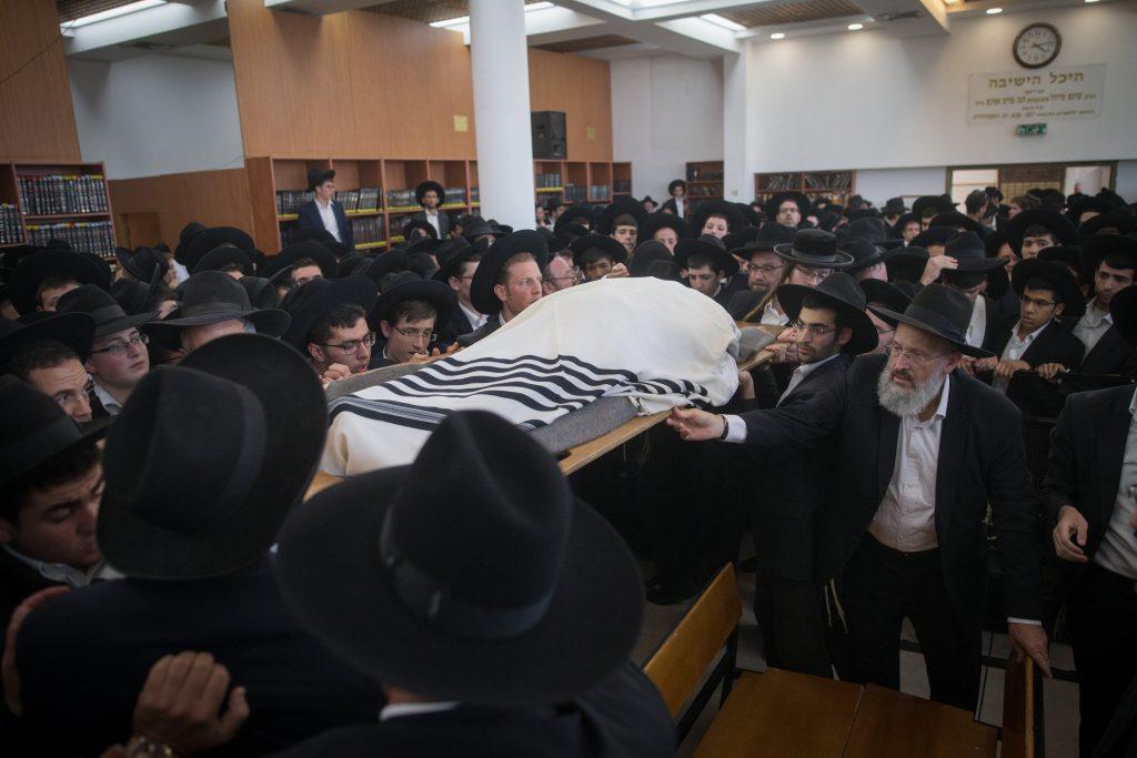 "The levaya of Hagaon Harav Moshe Mordechai Chadash, zt""l, Rosh Yeshivah, Yeshivas Ohr Elchanan, at the yeshiva in Yerushalayim on Wednesday."