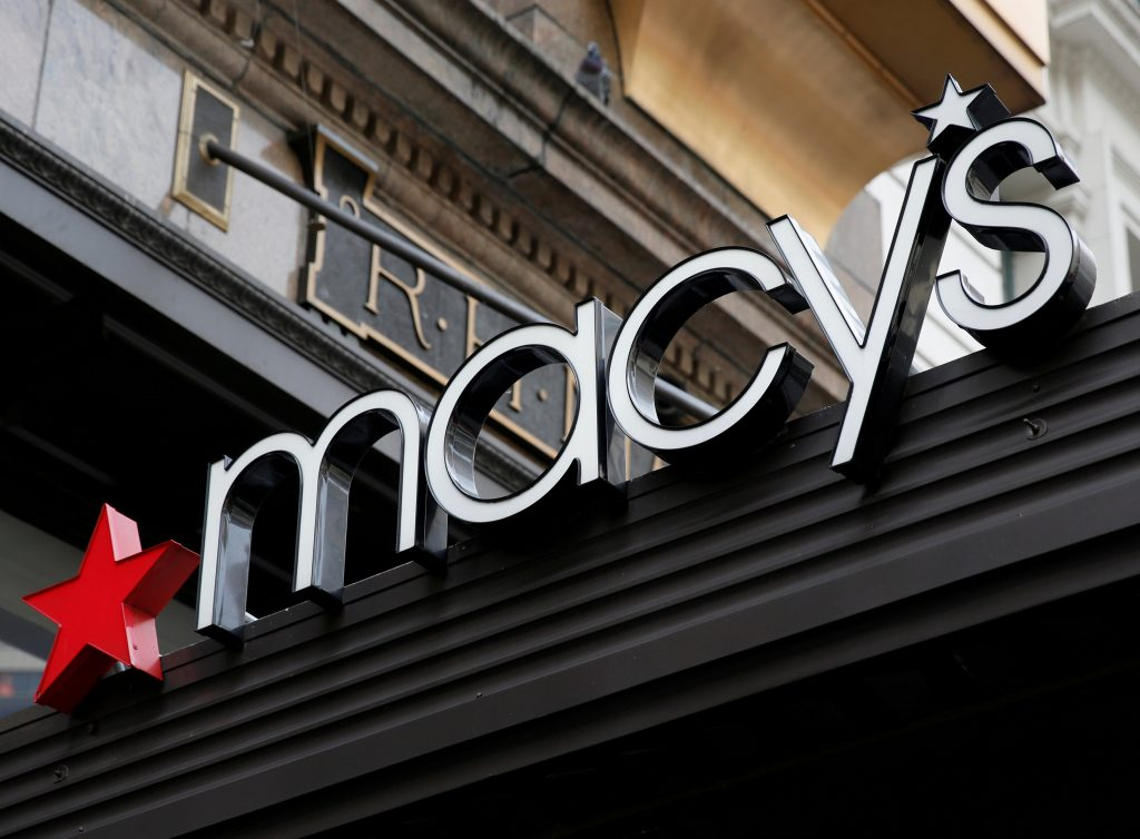 "A sign that marks the Macy's store is seen at the Herald Square location in New York, U.S., May 9, 2016. REUTERS/Shannon Stapleton/File Photo GLOBAL BUSINESS WEEK AHEAD PACKAGE - SEARCH ""BUSINESS WEEK AHEAD AUG 8"" FOR ALL IMAGES?"
