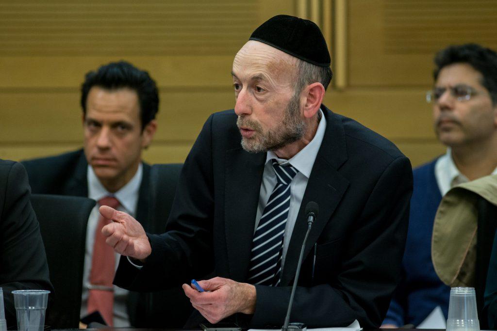 United Torah Judaism MK Uri Maklev, chairman of the Knesset Committee on Science and Technology. (Yonatan Sindel/Flash90)