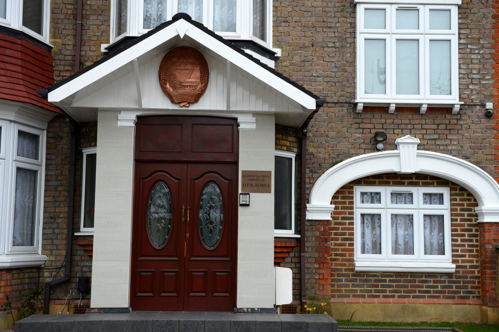 FILE PHOTO - North Korea's embassy to the United Kingdom is seen located in a house in a residential district in west London, Britain March 30, 2013. REUTERS/Paul Hackett/File Photo