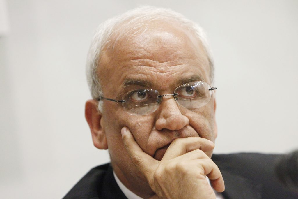 PLO Secretary-General Saeb Erekat (Miriam Alster/ Flash90)