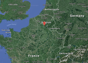 In this image from Google Maps, the red arrow indicates the Chimay, Belgium.