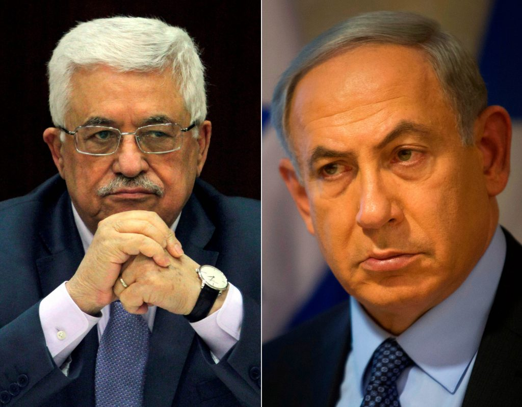 This composite image shows PA President Mahmoud Abbas (L) and Israeli Prime Minister Binyamin Netanyahu. (AP Photo/Issam Rimawi, Pool; AP Photo/Sebastian Scheiner)