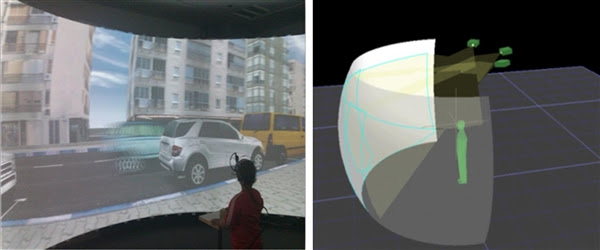 Fig.1. Dome projection facility and pedestrian simulator at the BGU Virtual Environment Simulation Laboratory. Left: A child participant viewing the scenario on the Dome screen with the eye tracker strapped to his head. Right: A perspective of a participant facing the dome. (Ben-Gurion University of the Negev)
