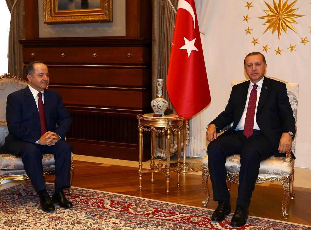 Turkey's President Tayyip Erdogan meets President of Iraqi Kurdistan Masoud Barzani (L) at the Presidential Palace in Ankara, Turkey, August 23, 2016. Kayhan Ozer/Presidential Palace/Handout via REUTERS ATTENTION EDITORS - THIS PICTURE WAS PROVIDED BY A THIRD PARTY. FOR EDITORIAL USE ONLY. NO RESALES. NO ARCHIVE.
