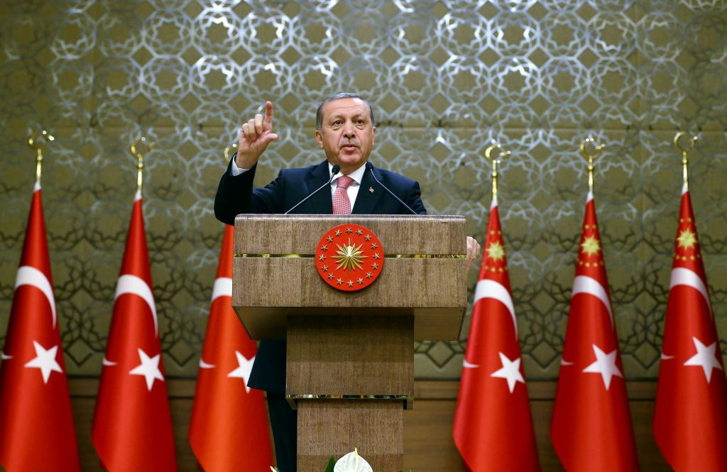 Turkey's President Tayyip Erdogan addresses the audience during a meeting at the Presidential Palace in Ankara, Turkey, August 2, 2016. Kayhan Ozer/Presidential Palace/Handout via REUTERS ATTENTION EDITORS - THIS PICTURE WAS PROVIDED BY A THIRD PARTY. FOR EDITORIAL USE ONLY. NO RESALES. NO ARCHIVE.