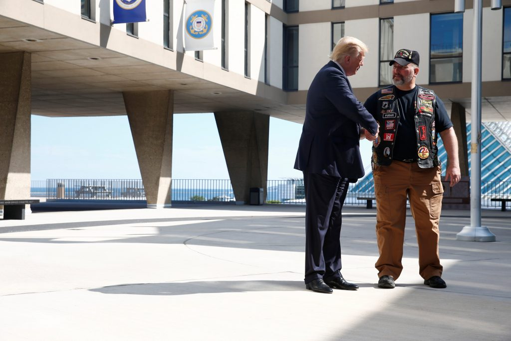 Republican presidential nominee Donald Trump visits the Milwaukee County War Memorial Center in Milwaukee, Wisconsin, Tuesday. (Eric Thayer/Reuters)