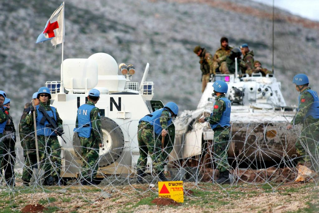 UNIFIL troops on duty at the U.N-demarcated Blue Line border between Lebanon and Israel. (Haim Azulay /Flash90)