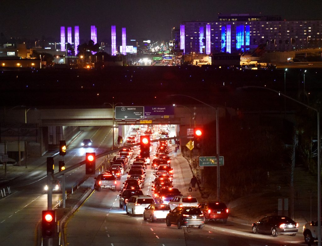 Traffic congestion is seen near Los Angeles International Airport, as terminals at the airport were evacuated briefly late on Sunday following a false alarm, in Los Angeles, California, U.S., June 28, 2016. REUTERS/Bob Riha Jr