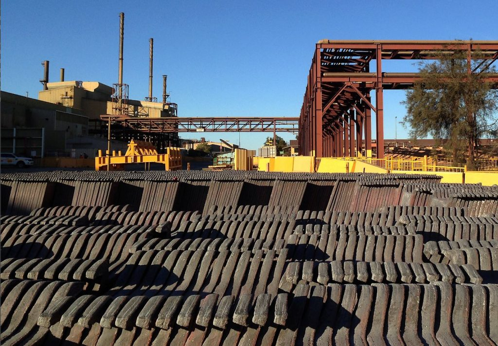REUTERS/Sonali Paul Copper anode stacks can be seen at BHP Billiton's Olympic Dam copper and uranium mine located in South Australia, May 24.