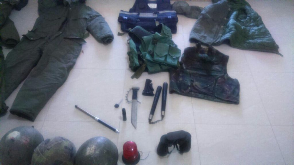 A shotgun, ammunition and other equipment seized by IDF troops in the Palestinian village Jaba in an overnight raid on August 18, 2016. (IDF Spokesperson's Unit)
