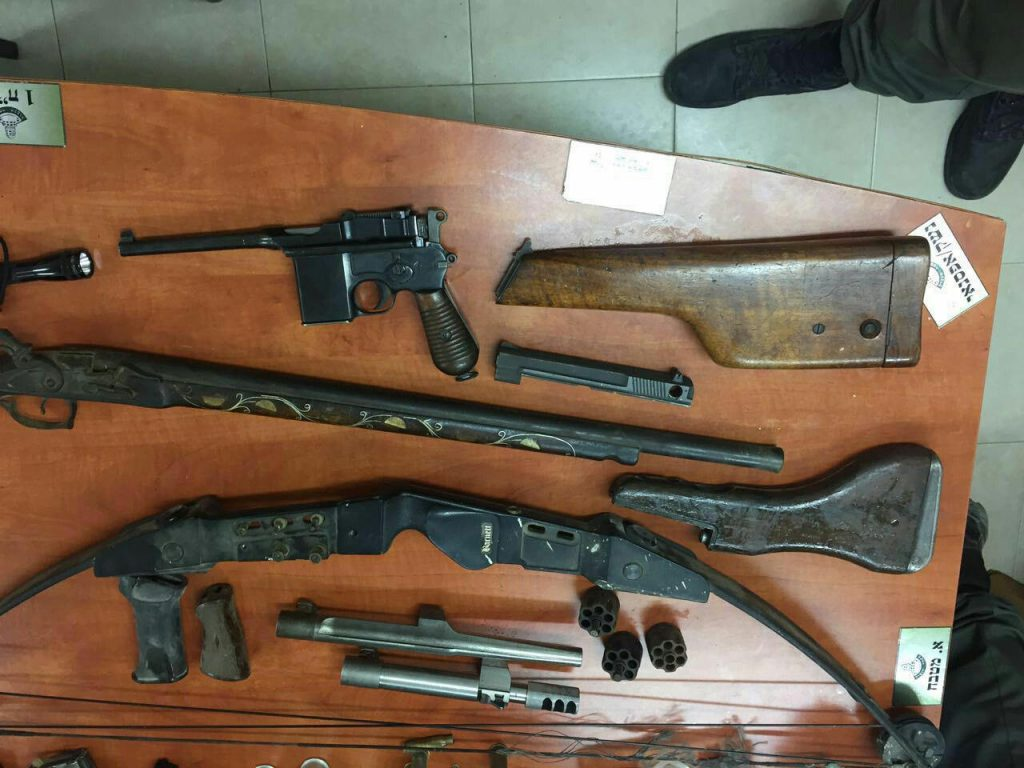 Dozens of illegal weapons seized by security forces in the raid in Beit Lechem, Tuesday night. (IDF Spokesperson's Unit)