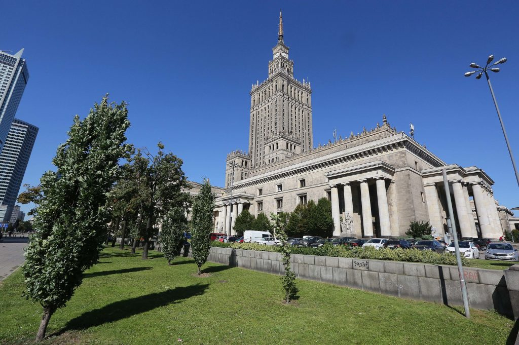 A plot of land by the landmark Palace of Culture and Science in downtown Warsaw, that is at the center of a media storm over irregularities in the restitution of private property seized by the communists into private hands. (AP Photo/Czarek Sokolowski)