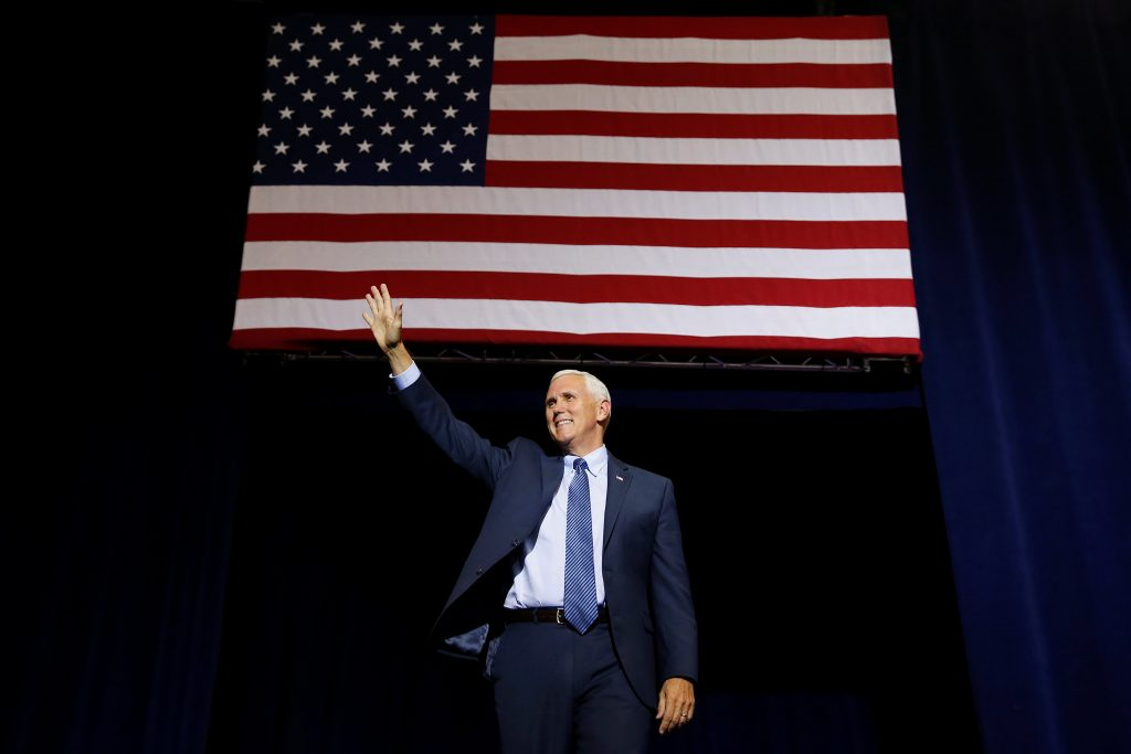 Republican vice presidential nominee Mike Pence speaks at a campaign rally in Phoenix, Arizona. (Carlo Allegri/Reuters)