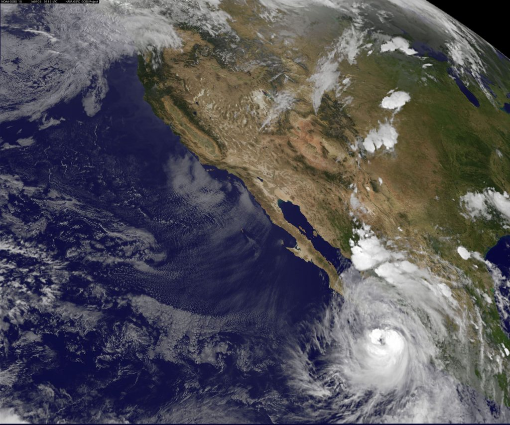 Hurricane Newton, located about 160 miles south-southeast of the tourist resort of Cabo San Lucas on Monday evening, is seen in an image from the NASA-NOAA GOES-West satellite taken Monday. (NASA/NOAA/GOES West/Handout via Reuters)