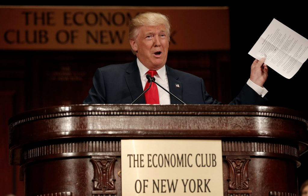 Republican presidential nominee Donald Trump speaks to the Economic Club of New York luncheon in Manhattan, September 15. (Mike Segar/Reuters)