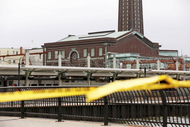 The Hoboken, New Jersey train station, scene of a train crash where a New Jersey Transit train derailed and crashed through the station. (Shannon Stapleton/Reuters)