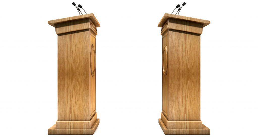 Opposing Debate Podiums