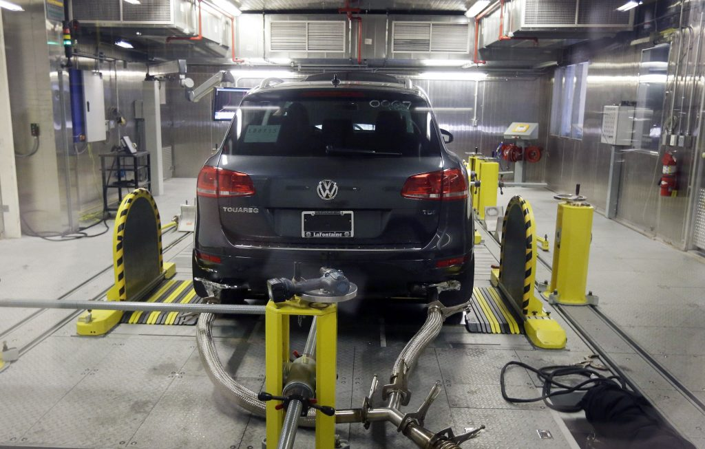 A Volkswagen Touareg diesel is tested in the Environmental Protection Agency's cold temperature test facility in Ann Arbor, Mich., in October 2015. (AP Photo/Carlos Osorio, File)