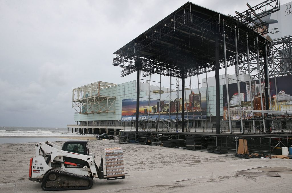 Items that can be blown or damaged in high winds have been removed from the beach stage in Atlantic City, N.J., on Saturday, Sept. 3, 2016. The approach of Hermine forced both weekend beach concerts to be cancelled. (Ben Fogletto/The Press of Atlantic City)