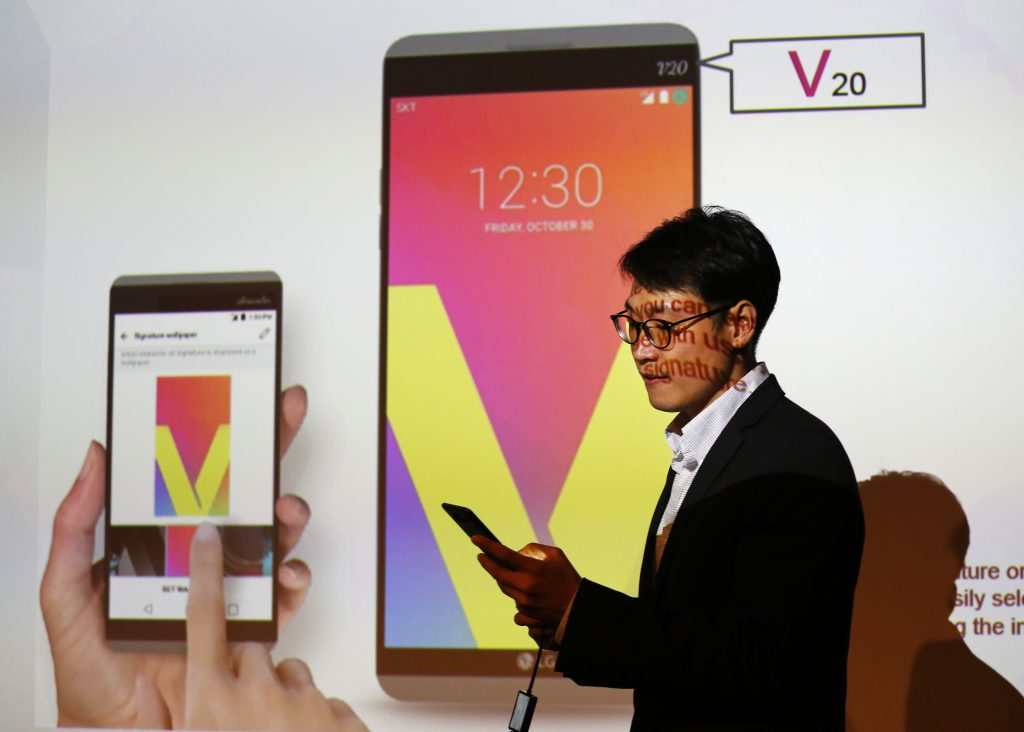 The LG V20 is demonstrated in New York last month. The phone is the first to ship with Google's new Android Nougat software. (AP Photo/Mark Lennihan, File)